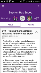 A session description from the DevLearn app